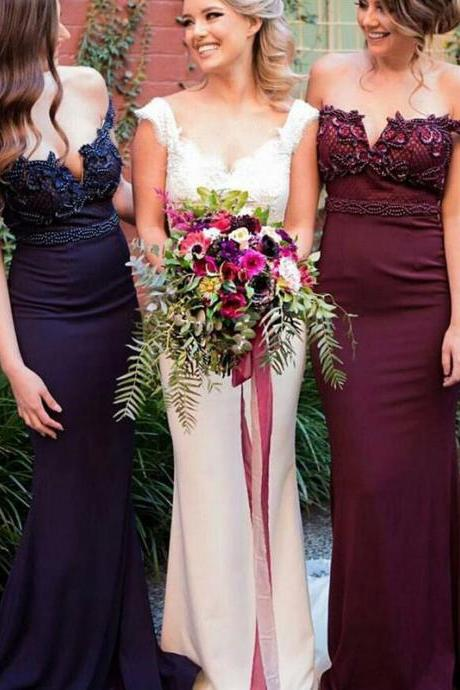 Fabulous Mermaid Off Shoulder Sweep Train Maroon/Navy Long Bridesmaid Dress with Beading