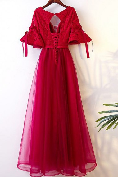 A-Line V-Neck Half Bell Sleeves Dark Red Tulle Open Back Tulle Prom Dress with Lace