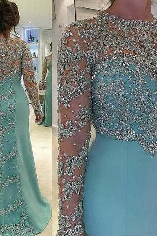 New Sexy Jewel Neck Long Sleeves Sheath Sky Blue Lace Appliques Crystal Beads Formal Party Dress Prom Gowns