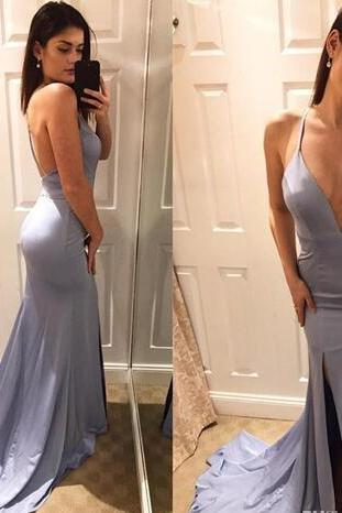 Sexy Deep V Neck Mermaid Prom Dresses 2018 Open Back High Side Split Long Evening Party Gowns Cheap robe de soriee Formal Evening Dress