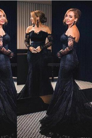Sexy Black Mermaid Prom Dresses New Fashion Off Shoulder Full Lace Long Sleeves Court Train Long Formal Evening Party Gowns Custom