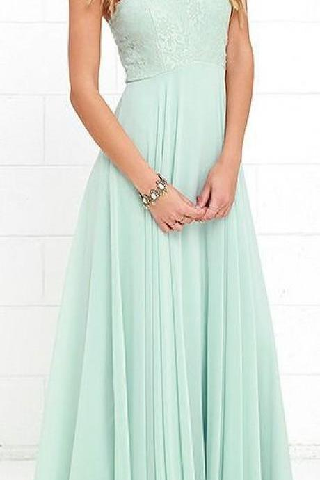 Sage Green Halter Prom Dress, Simple Long Prom Dress, A-Line Prom Dress