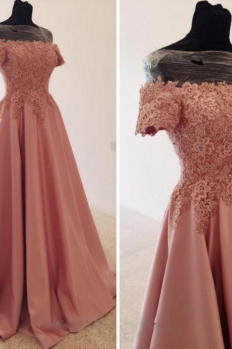 Off-the-Shoulder Satin Prom Dress, Beaded Lace Long Prom Dress, Gentle A-Line Evening Dress