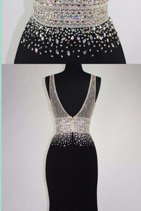Charming v-neck prom dress, black mermaid party dress, beaded long evening dress