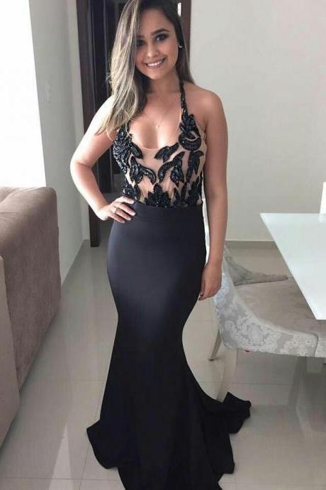 Beaded Halter Prom Dress, Black Mermaid Evening Dress, Satin Long Party Dress 2018