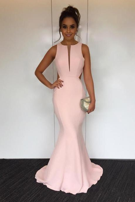 Cut Out Back Pink Prom Dress, Satin Mermaid Evening Dress, Concise Long Prom Gowns