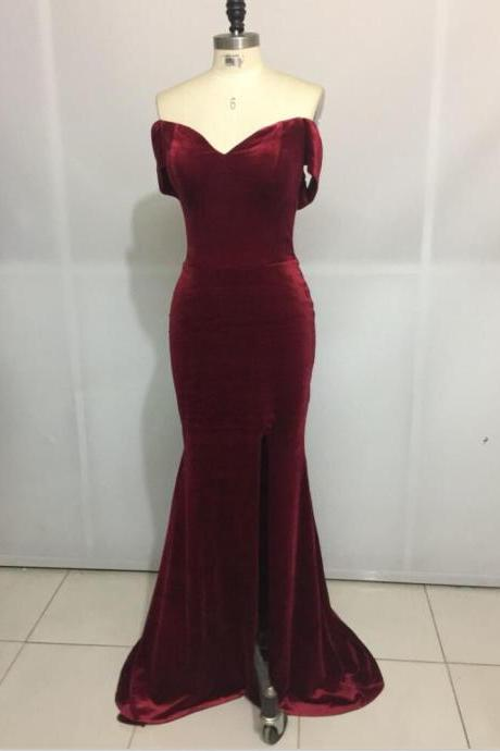 Burgundy Straps Mermaid Party Gowns, Mermaid Formal Dresses, Long Prom Dresses