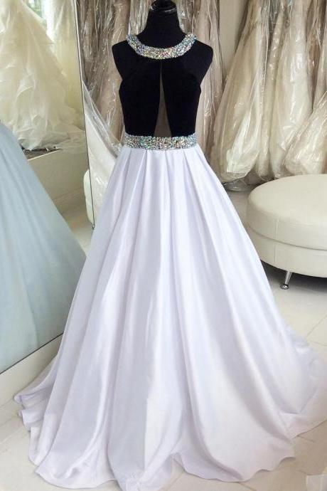 Black and White Satin Prom Dress, Beading Long Evening Dress, A-Line Round Neck Party Dress