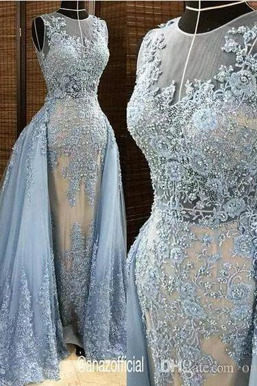 Evening Dresses With Tulle Detachable Overskirt Illusion Blue Gray Pearls Beaded Lace Appliques Celebrity Gown Sexy Plus Size Evening Dresses