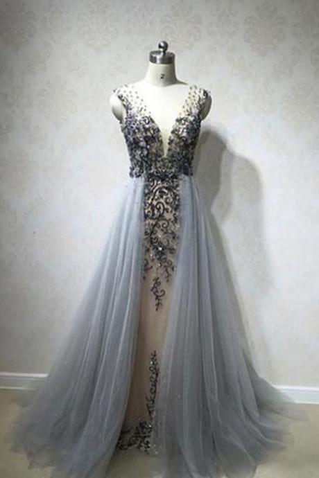 Evening Dresses With Tulle Overskirt Illusion Blue Gray Pearls Beaded Lace Appliques Celebrity Gown Sexy Plus Size Evening Dresses