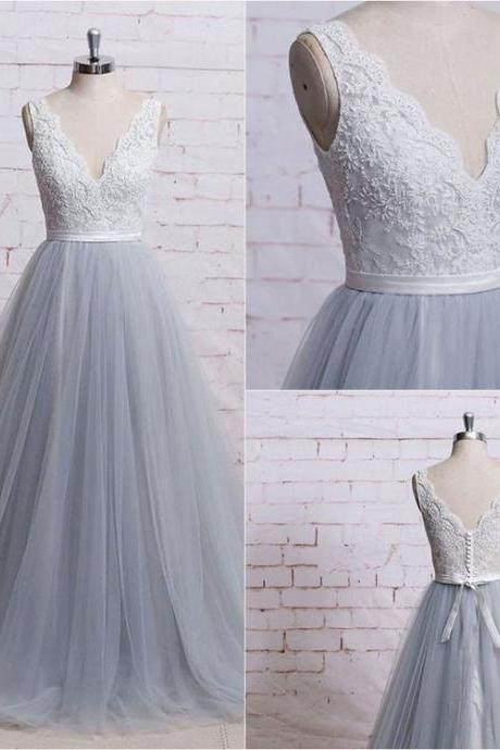 Gray tulle long senior prom dress, simple bridesmaid dress sexy prom dresses,evening gowns