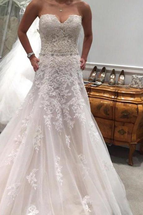 Appliques Tulle Wedding Dresses, Sleeveless Mermaid Wedding Gowns, Sexy Bridal Dresses