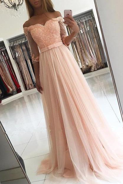 Charming Prom Dress,Tulle Prom Dress, Appliques Prom Dress,Half-Sleeves Evening Dress