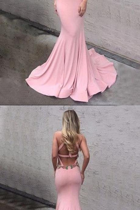 pink memaid prom dresses, open back prom dresses, sexy prom dresses,backless prom dresses