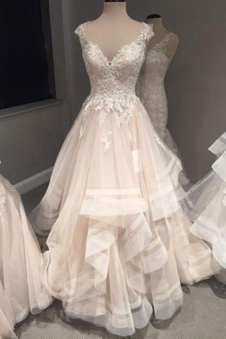 V-Neck Appliques Wedding Dresses,Long Wedding Dresses,Cheap Wedding Dresses, Evening Dress Prom Gowns, Formal Women Dress