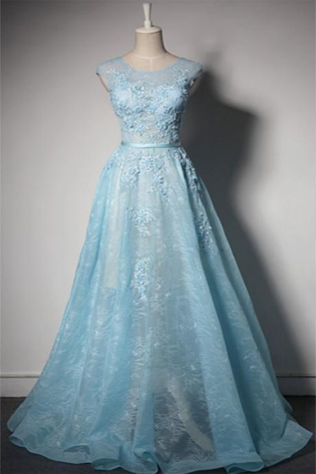 Prom Dresses,Ice blue lace round neck customize long senior pageant prom dress
