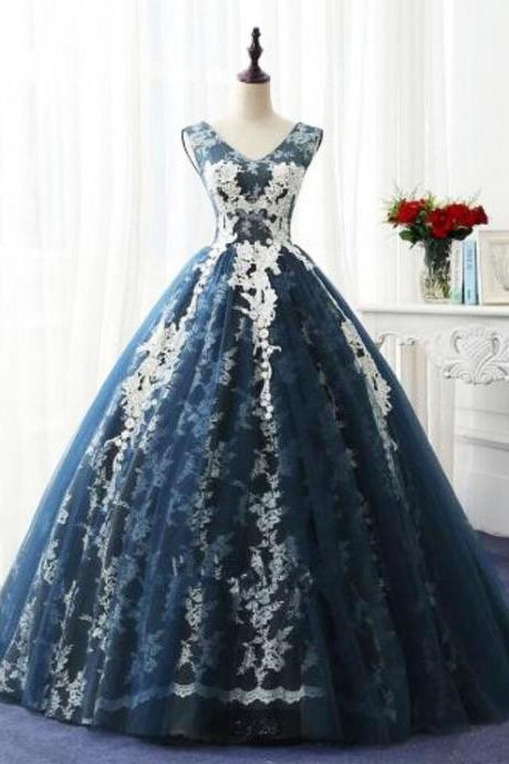 Navy blue tulle V neckling long winter formal prom dress, long lace appliques evening dress