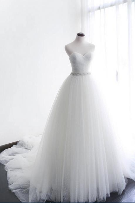 Prom Dresses,new fashion Prom Dresses,Simple white tulle strapless beaded sweep train wedding dresses