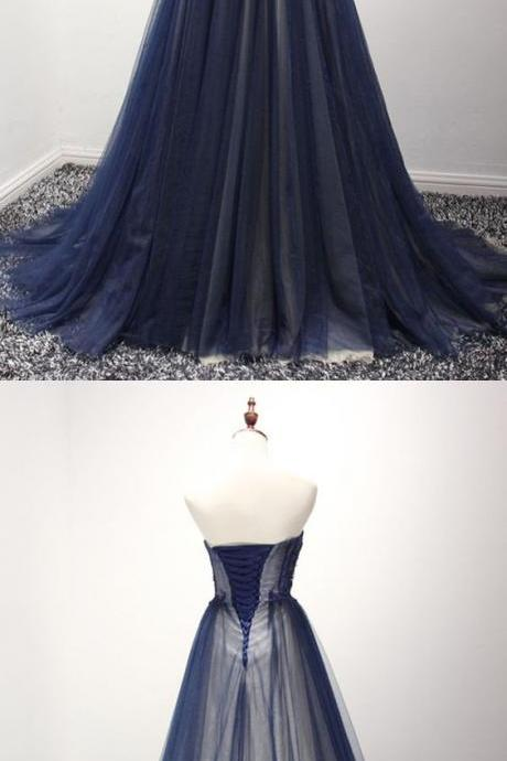 Prom Dresses,new fashion Prom Dresses,Strapless navy blue tulle A-line long evening dress with appliques and beads