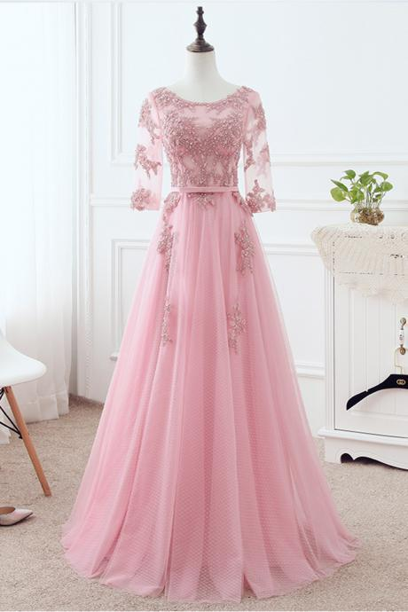 Prom Dresses,new fashion Prom Dresses,Pink tulle long sweet 16 prom dresses, customize long evening dress with sleeves