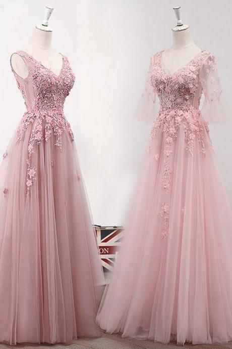 Prom Dresses,new fashion Prom Dresses,Pink tulle V neck long lace appliques A-line prom dress