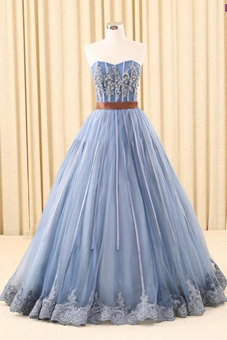 Prom Dresses,new fashion Prom Dresses,Blue sweetheart neckline long tulle prom dress with beading