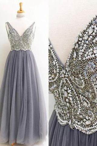 A-Line Prom Gown,V-Neck Prom Dress,Gray Prom Dresses,Tulle Prom Gown,Long Prom Dress with Beading,Long Prom Dresses