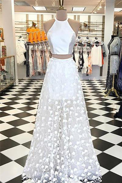 Two Piece Prom Dresses,A-line Prom Dress,Jewel Evening Dress,White Prom Gown,Floor-length Prom Dresses,Appliques Prom Dress