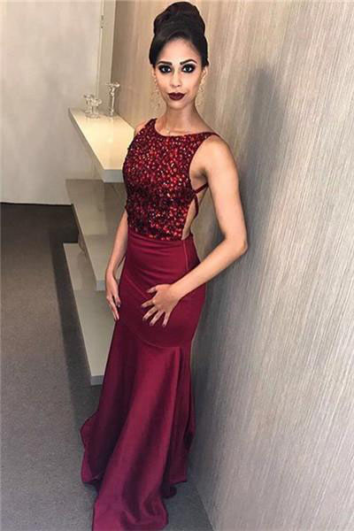 Burgundy Prom Dress,Mermaid Prom Dress,Mermaid Evening Dress,Crystal Evening Gowns,Beading Prom Dresses,Sleeveless Evening Gown