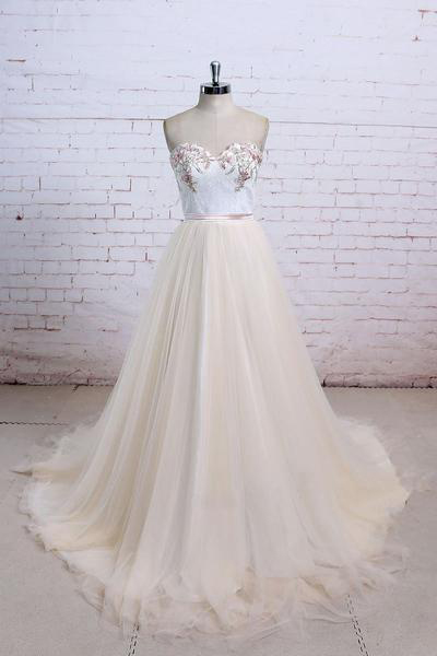 Light Champagne Prom Dresses,Tulle Prom Dresses,Long Prom Dress,Lace Prom Dresses,Sweetheart Prom Gown,A Line Prom Gown