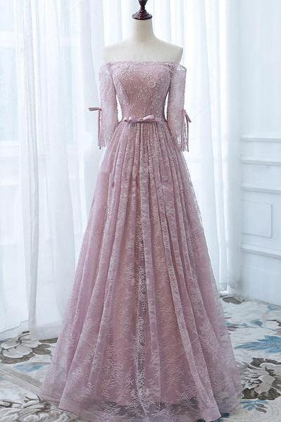 Pink Prom Dresses,Lace Orin Gown,Long Prom Dress,Off the Shoulder Prom Dresses,Long Bridesmaid Dress