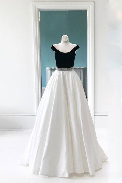 Simple Prom Dresses,White Prom Dress,Off Shoulder Prom Dresses,Long Prom Dress, Formal Evening Dress