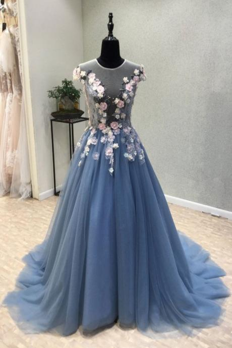 Appliques Prom Dress,A-Line Prom Dress,Long Prom Dresses,Flower Prom Dresses,Tulle Evening Dress, Blue Evening Dresses,Formal Women Dress