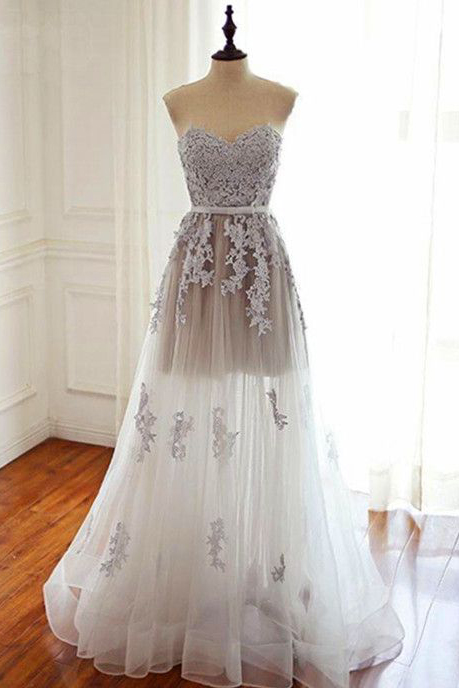Charming Prom Dress,Elegant Prom Dress,A Line Prom Dresses,Tulle Evening Dress,Appliques Prom Gown,Long Prom Dress,Sweetheart Prom Dresses