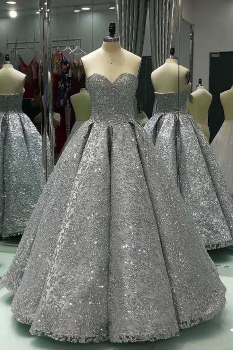 Sweetheart Prom Dresses,Gray Prom Dresses,Sleeveless Prom Dress,Long Ball Gown,Shiny Prom Dresses,Winter Formal Prom Dresses,Sequin Prom Dress