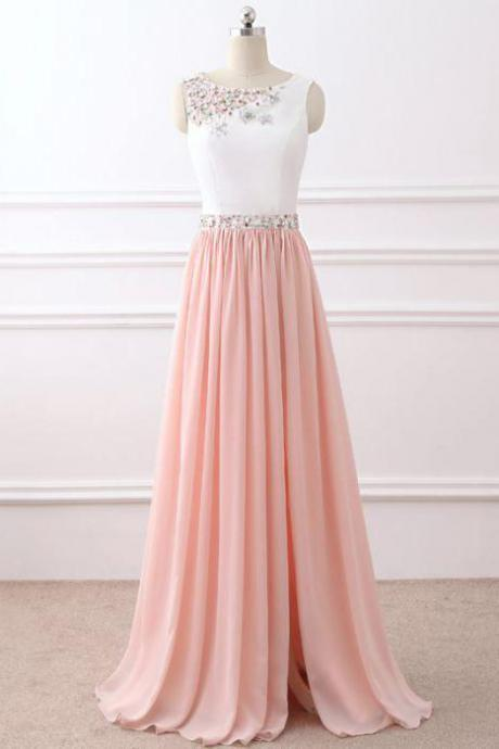 Chic Prom Dress,A-line Prom Dresses,Chiffon Prom Dresses,Pink Prom Gown,Beading Prom Dress,Long Prom Dress,Sleeveless Evening Dresses