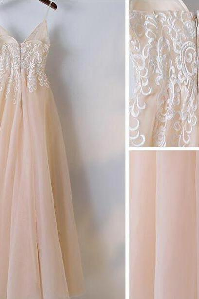 A-line Prom Dress,Fashion Prom Dresses,Spaghetti Straps Prom Dresses,Long Prom Dress With Lace Applique,Elegant Prom Dresses,Long Formal Gowns