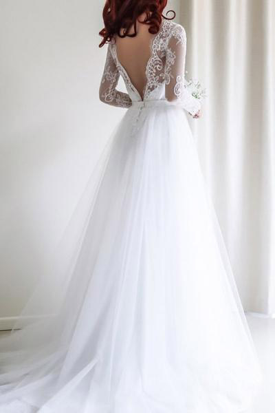 A-line Wedding Dresses,Long Sleeves Wedding Dress,White Bridal Gown,Lace Wedding Dress,Long Bridal Gowns,Tulle Bridal Dresses