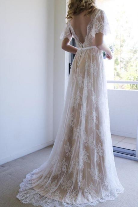 Romantic Wedding Dresses,A-line Wedding Gown,White Wedding Dress,Lace Wedding Dresses,Long Wedding Dress with Open Back