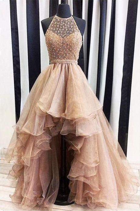Prom Dresses Halter,Ball Gown Party Dresses Long, Organza Tulle Beading Prom Dresses Asymmetrical, High Low Formal Dresses
