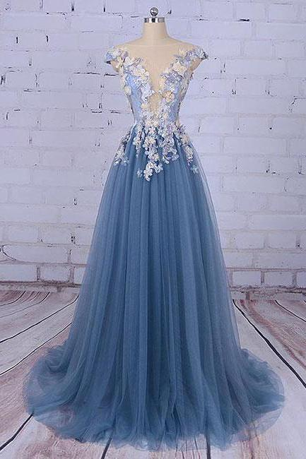 Unique Prom Dresses,Pncess Prom Dress,Appliqued Prom Dresses,Tulle Evening Dress,Long Prom Dress, Formal Evening Dress