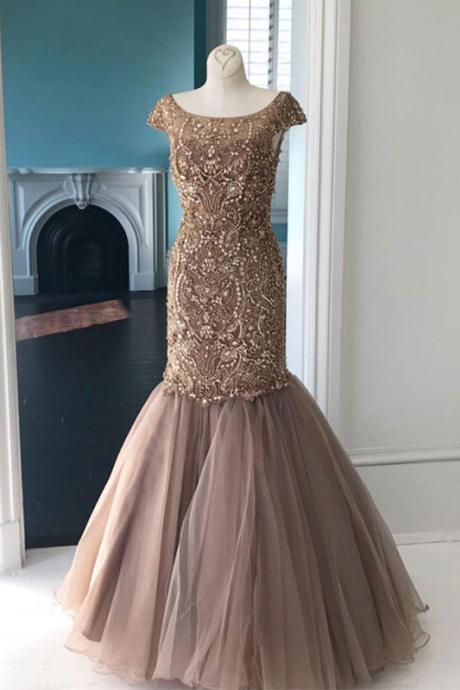 champagne round neck tulle sequin beads mermaid long prom dress, champagne evening dress