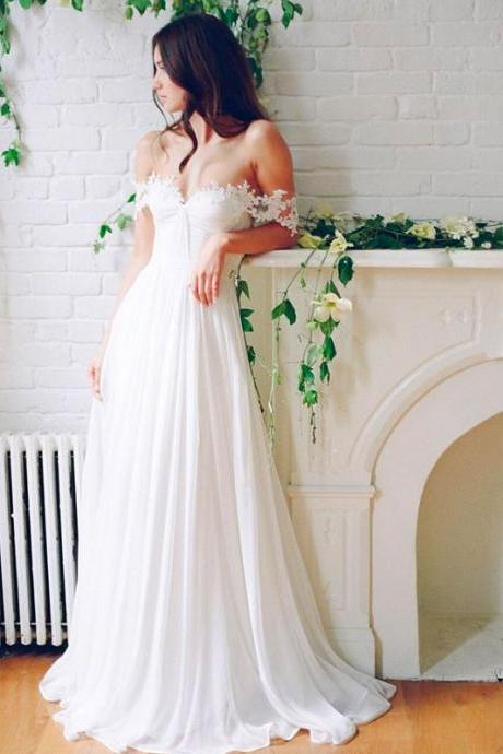 white off shoulder lace chiffon long prom dress, wedding dress