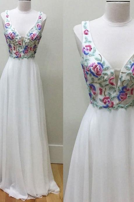 White v neck beads chiffon long prom dress, white formal dress