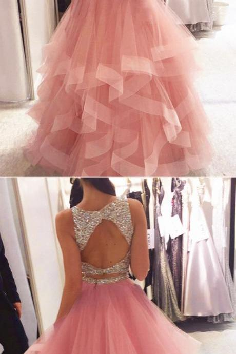 Exquisite Sequin Beaded Organza Ruffles Prom Dresses Two Piece Elegant Formal Dress