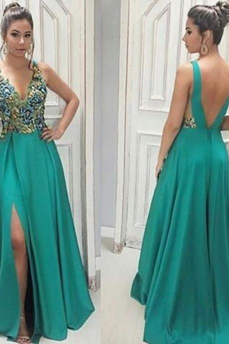 Unique green v neck chiffon long prom dress, green evening dress