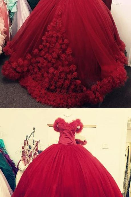 wine red wedding dress,ball gown wedding dresses 2018,flower wedding dress,sweet 16 dress,burgundy quincenera dress