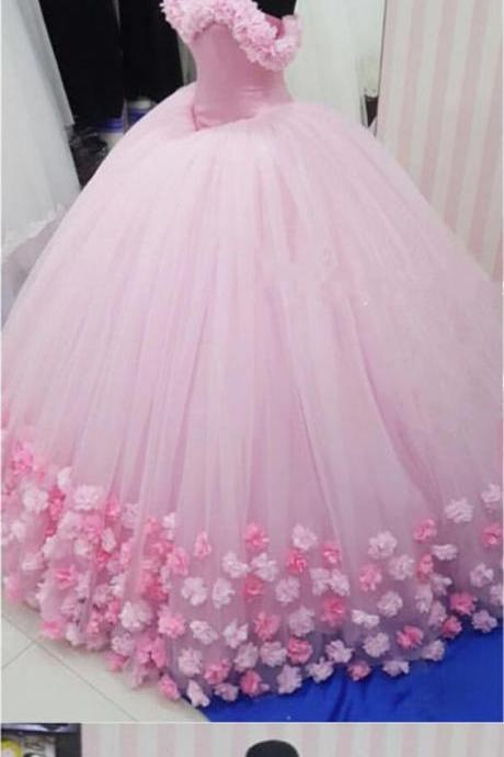 beautiful pink wedding dress 2018 flowers ball gowns wedding dresses