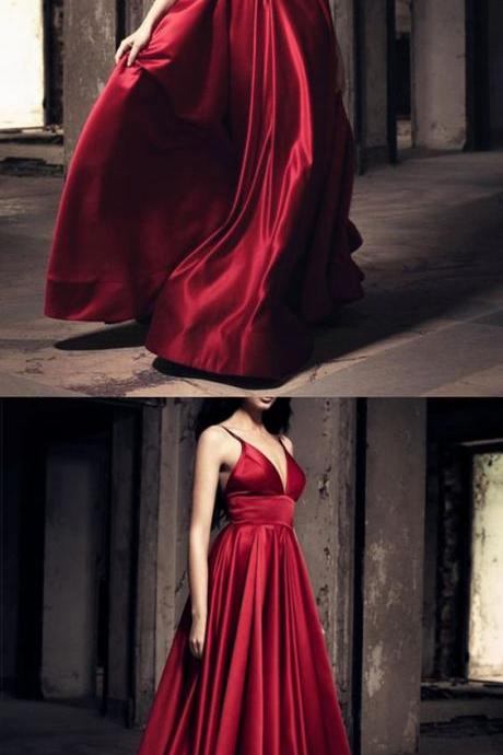 Burgundy Satin Prom Dress,Wine Red Evening Gown,Long Satin Bridesmaid Dress