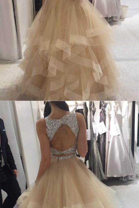 Shinning Sequin Beaded Organza Ruffles Ball Gowns Prom Dresses 2018 Two Piece Prom Gowns With Keyhole Back